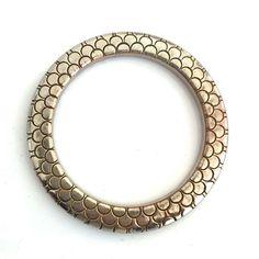 Bakelite Bangle Bracelet Carved & Clad in Metal Room 4 More on Ruby Lane