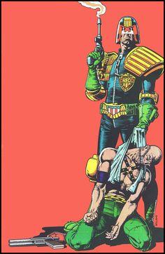 "JUDGE DREDD Joseph ""Joe"" Dredd First Appearance: 2000 AD # 5 (March 5, 1977). Drawing by Brian Bolland."