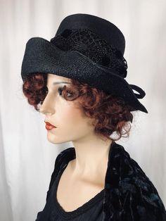 Vintage Hat 1960s Black Messy Bun Hat Boho Retro Sun Faux Straw Wedding  Honeymoon 60s Wide Brim Hat Coachella Fashion Wedding Gift for Her eda475b87d0