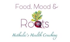 Food, Mood & Roots: Nathalie's Health Coaching logo design(hand painted)