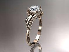 14K Rose única de compromiso de oro ADLR322 anillo