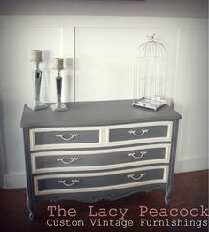 Dark Gray and Cream White French Provincial Dresser