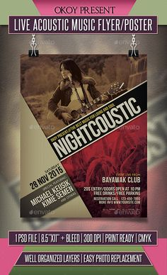 Live Acoustic Music  Flyer / Poster Template PSD #design Download: http://graphicriver.net/item/live-acoustic-music-flyer-poster/13739121?ref=ksioks