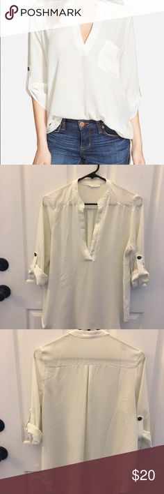 Lush perfect roll tab shirt, white, size Medium LUSH from Nordstrom, roll tab shirt. Color is white and it is sheer. Size medium. Worn a couple of times. No stains or snags. EUC. Lush Tops Blouses