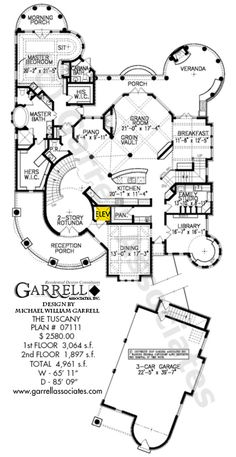Tuscany House Plan 07111, 1st Floor Plan, Mediterranean Style House Plans, Costa Rican Style House Plans