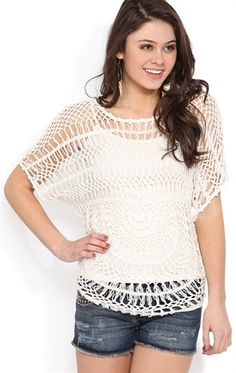 Crochet Top with Elbow Length Sleeves and Rounded Bottom Hem