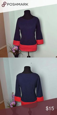 Banana Republic Navy & Red Blouse In flawless condition. Worn once. Absolutely gorgeous! Banana Republic Tops Blouses