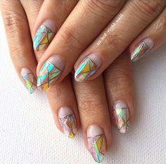 Chrome deco window nail art, mylar nails