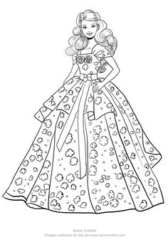 Barbie Coloring Pages, Disney Princess Coloring Pages, Disney Princess Colors, Cute Coloring Pages, Coloring Pages For Girls, Cartoon Coloring Pages, Barbie Drawing, Barbie Images, Barbie Paper Dolls