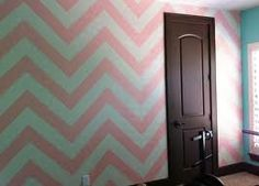 Pink chevron wall black door solid Tiffany blue walls perfect combination