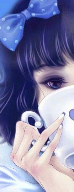 I really like this anime girl's eye makeup, hair bow, and nail art. I really really like this anime look. Ich mag diesen Anime-Look wirklich sehr: Manga Anime, Art Manga, Manga Girl, Anime Art, Anime Girls, Anime Kunst, Anime Comics, Anime Style, Anime Love