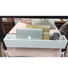 The bed rail cubby is super useful for the dorm room. It fits perfectly on the bed post or side rail of a dorm bed. It's great for storing lap tops, phones, electronics, water bottles, notebooks, etc.
