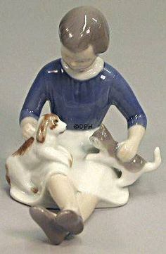 Girl with Cat and Dog, Bing & Grondahl figurine