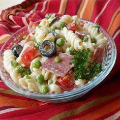 "American-Italian Pasta Salad I ""Wow! This recipe is up there in our list of all-time favorite pasta salads. When my husband took his first bite, he closed his eyes and could only make multiple yummy sounds."""
