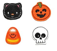 Halloween Mix of machine embroidered handmade felt embellishments that can be used in a variety of your crafting projects. From hair clippies to scrap booking the possibilities are endless.       We use felt made from quality polyester fiber made from 100% post consumer recycled plastic bottles.  All appliques come from a smoke/pet free home.  Black cat, Jack O'lantern, candy corn, skull