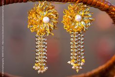 Check images for Anoo Flower Jewellery. Explore their work and contact them for prices and availability. Handmade Jewelry Designs, Handmade Accessories, Handmade Jewellery, Gold Jewellery, Jewelery, Jewelry Accessories, Diy Lace Earrings, Beaded Jewelry, Flower Jewelry