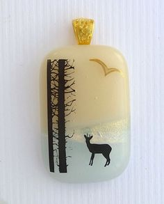 Dichroic Fused Glass Pendant Forest Deer US Art #2876 LolasGlassPendants #LolasGlassPendants #PendantforNecklace