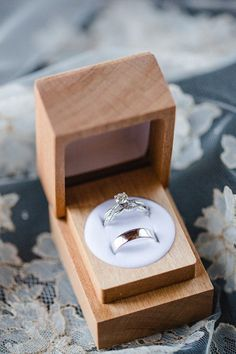 Romantic Carnegie Institution Wedding - United With Love | Susie and Becky Photography | Wooden Ring Box with Engagement Ring and Wedding Bands