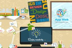 Designer's workspace flat illustration Illustration Plate, Business Illustration, Mobile Application Development, App Development Companies, Web Development, Interior Design Vector, Flat Design, Web Design, Design Ideas