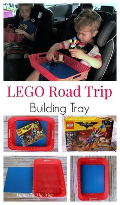 LEGO road trip building tray to keep your family vacation fun for the kids. Perfect activity tray for toddlers - works with DUPLO and LEGO bricks. Get creative with your own LEGO bricks and building activities or put together the latest LEGO set. Kids Travel Activities, Road Trip Activities, Lego Activities, Road Trip Games, Family Activities, Car Activities For Toddlers, Road Trip Snacks, Summer Activities, Camping Hacks With Kids