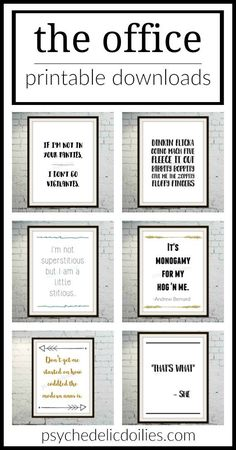 Office quotes funny - The Office Printable Art Quotes – Office quotes funny Office Themed Party, Office Parties, Office Gifts, Office Quotes, Office Humor, Funny Office, The Office Wedding, Office Tv Show, Office Art