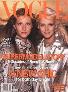 Gisele Bundchen & Carmen Kass by Steven Meisel for US VOGUE January 2000 | Garren | Pat McGrath | Tonne Goodman.