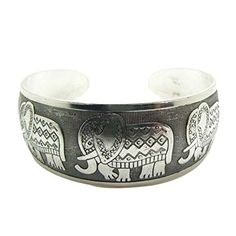 Susenstone Elephant Tibetan Tibet Totem Bangle Jewelry Retro Cuff Wide Bracelet.More info for silver anklets designs for bride;silver anklets designs for bride;anklet jewelry;bridal anklets online;kundan anklets online could be found at the image url.(This is an Amazon affiliate link and I receive a commission for the sales)