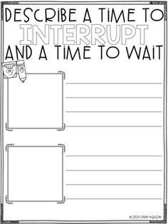 A classroom guidance lesson on interrupting -- leads and starts the discussion on when is a time to interrupt and when is a time to wait. Elementary School Counseling, School Counselor, Elementary Schools, Counseling Office, Coping Skills, Social Skills, Social Work, Social Emotional Development, Social Emotional Learning