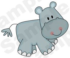 """Hippo Wall Mural measures 16.5"""" Tall and 20"""" Wide. Graphics by Scrappin Doodles."""