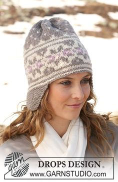"DROPS 116-34 - DROPS hat in ""Alaska"" with earflaps and Norwegian pattern. - Free pattern by DROPS Design"