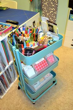 An Oasis in the Desert: Updates -- Craft Room -- this IKEA Raskog cart gives a ton of storage on wheels!