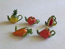 Miniature teapots fruit and vegetable