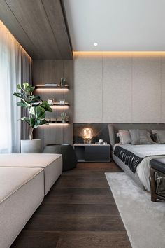 Appreciation of Tang Zhonghan's two major works Modern Master Bedroom, Bedroom Wall, Home Decor Bedroom, Master Bedroom Design, Luxury Master Bathrooms, Bedroom Ideas, Hotel Room Design, Luxury Bedroom Design, Home Interior Design