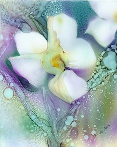 Alcohol Ink Art Print Vined Primrose on by BloomingButtercup