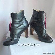 Vintage High Heel TASSEL Ankle Boots / size 5 B  Eur 35 UK 2