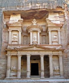 """Petra is a historical and archaeological city in the Jordanian governorate of Ma'an that is famous for its rock cut architecture. Petra was chosen by the BBC as one of """"the 40 places you have to see before you Oh The Places You'll Go, Places To Travel, City Of Petra, Thinking Day, Lost City, Ancient Architecture, Ancient Buildings, Gothic Architecture, World Heritage Sites"""