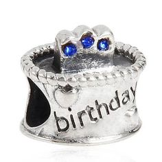 Fits Pandora Birthday Charm 925 Sterling Silver with Pave Blue Crystals. Click Picture to Purchase. https://liftingtheworld.com/collections/charms?page=6