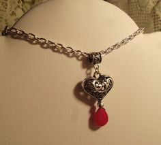 Heart drop red Chalcedony silver tone filigree heart by GameorGoth, $19.00