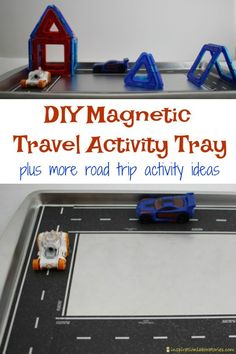 This easy to make DIY magnetic travel activity tray is perfect for road trips with kids.