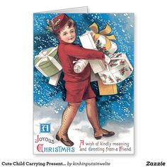 Cute Child Carrying Presents Holly Snow Greeting Card
