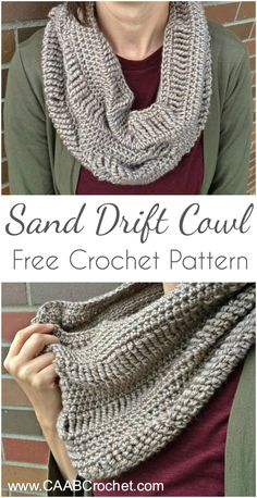 Free Crochet Cowl Pattern | The Sand Drift Cowl | from Cute As A Button Crochet & Craft #free #crochet #pattern #cowl #infinity #scarf