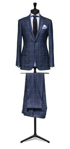 sandro-b.com Blue suit Glencheck blue windowpane Sandro.B Suit