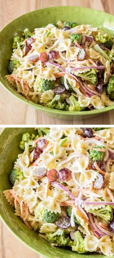 A sweet creamy dressing coats pasta, veggies, and fresh grapes. The perfect side dish for your summer barbeque!