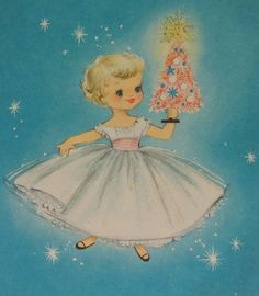 Christmas card. Little girl and pink tree. Made from by vintagevic, £3.50