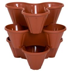 Pure Garden 13 in. Plastic Stackable Planters (3-Pack) - $15.75   Each flower pot has three 5 in. deep compartments.  •Made with durable plastic •Indoor/outdoor •Planters can be stacked or used separately •Dimensions each planter: 13 in. L x 13.5 in. W x 5 in. H •Height of planters s