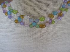 SUMMER SALE  - Multi Color Crackle Glass Weave or Woven Necklace with Toggle Clasp $20.00 #jewelry #woven #necklace #sale #summer #gift #blue #white #amber #green #purple #limegreen #lavendar #wedding @limeystreasurechest