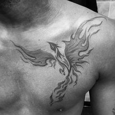 Flaming Shaded Phoenix Mens Tribal Chest Tattoos                                                                                                                                                                                 More
