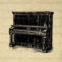 Printable Piano Image Download Antique Illustration Graphic Music Digital Vintage Clip Art. Printable digital image for making prints, iron on transfers, pillows, tea towels, tote bags, papercrafts, and much more. Antique artwork. This digital image is large and high quality, size 8½ x 11 inches. A Transparent background png version is included.