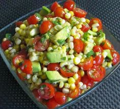 I need to make this ASAP!!  Easy Recipes to Do: Grilled Corn, Avocado and Tomato Salad with Honey Lime Dressing