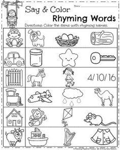Spring Kindergarten Worksheets - Say and Color Rhyming Words
